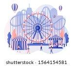 amusement park concept. tiny... | Shutterstock .eps vector #1564154581