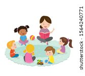 elementary students and teacher.... | Shutterstock .eps vector #1564240771