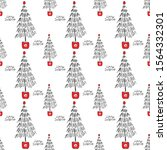 seamless pattern with christmas ... | Shutterstock . vector #1564332301