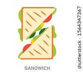 sandwich flat icon on white... | Shutterstock .eps vector #1564347367
