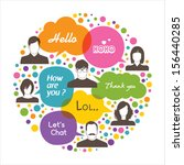 colorful social network design | Shutterstock .eps vector #156440285