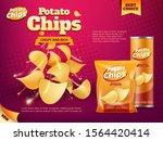 potato chips advertising of... | Shutterstock .eps vector #1564420414