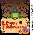 halloween background card with... | Shutterstock .eps vector #156445331