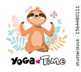 Happy Sloth Sitting In Yoga...