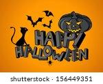 happy halloween hand lettering... | Shutterstock .eps vector #156449351