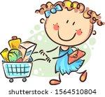 cartoon girl doing shopping ...   Shutterstock .eps vector #1564510804