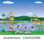 lifestyle of people at...   Shutterstock .eps vector #1564522984