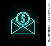 envelope and coin neon icon....