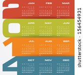 simple editable vector calendar 2014 - stock vector