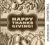 vintage happy thanksgiving card ... | Shutterstock .eps vector #1564587811