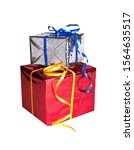 two gifts in red and silver...   Shutterstock . vector #1564635517