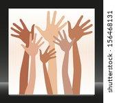 happy hands in skin tones...   Shutterstock .eps vector #156468131