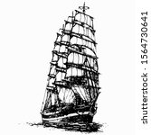 ship sailing yacht boat antique ...   Shutterstock .eps vector #1564730641