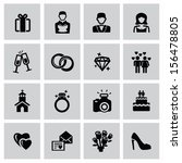vector black wedding icons set... | Shutterstock .eps vector #156478805
