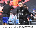 Small photo of LONDON, ENGLAND - FEBRUARY 10, 2019: Jamie Vardy of Leicester pictured ahead of the 2018/19 Premier League game between Tottenham Hotspur and Leicester City at Wembley Stadium.