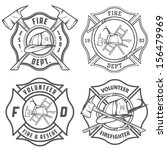 set of fire department emblems... | Shutterstock .eps vector #156479969