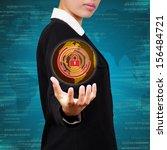business holding globe virtual... | Shutterstock . vector #156484721
