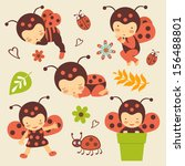 cute ladybug babies collection | Shutterstock .eps vector #156488801