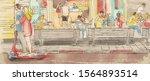 watercolor illustration of... | Shutterstock . vector #1564893514