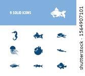 fish icon set and sea horse...