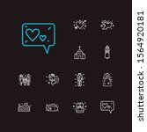 romance icons set. heart with...