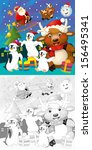 the coloring christmas page... | Shutterstock . vector #156495341