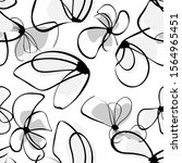 black flowers monochrome in... | Shutterstock .eps vector #1564965451