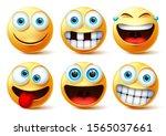emojis vector face set.... | Shutterstock .eps vector #1565037661