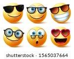 emoji or emoticon faces wearing ... | Shutterstock .eps vector #1565037664