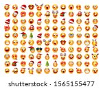 christmas emoji funny and cute... | Shutterstock .eps vector #1565155477