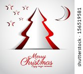 merry christmas paper tree... | Shutterstock .eps vector #156519581