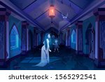 old castle hall with ghosts... | Shutterstock .eps vector #1565292541