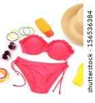 swimsuit and beach items... | Shutterstock . vector #156536384