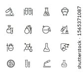 chemical research line icon set.... | Shutterstock .eps vector #1565371087