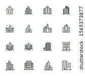 buildings icons. set of line... | Shutterstock .eps vector #1565373877