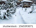 Snowy Backyard Patio.winter ...