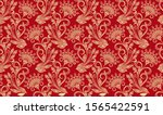seamless red and yellow floral... | Shutterstock .eps vector #1565422591