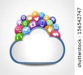 internet cloud with social...   Shutterstock . vector #156542747
