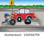 illustration of a boy repairing ... | Shutterstock . vector #156546794
