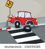 illustration of a red car... | Shutterstock . vector #156554285