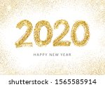 2020 happy new year. numeral... | Shutterstock .eps vector #1565585914