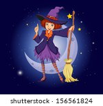 illustration of a witch holding ... | Shutterstock . vector #156561824