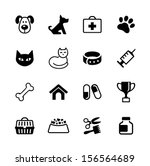 Icon set -  pets, vet clinic, veterinary medicine - stock vector