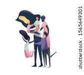 lesbian couple adoption. lgbt...   Shutterstock .eps vector #1565649301