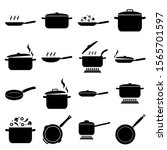 frying pan and pan set icon ... | Shutterstock .eps vector #1565701597