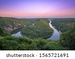 """The """"Saarschleife"""" of Saarland, Germany at the sunset. The place where the river Saar makes a turn."""