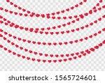 red paper hearts garland... | Shutterstock .eps vector #1565724601