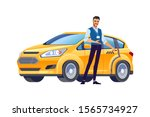 taxi driver inviting passenger... | Shutterstock .eps vector #1565734927