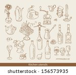 set of images of kitchen ware | Shutterstock .eps vector #156573935