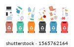 garbage cans with sorted... | Shutterstock .eps vector #1565762164